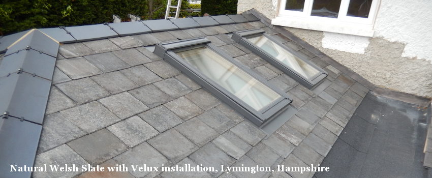 Natural Welsh Slate with Velux installation, Lymington, Hampshire